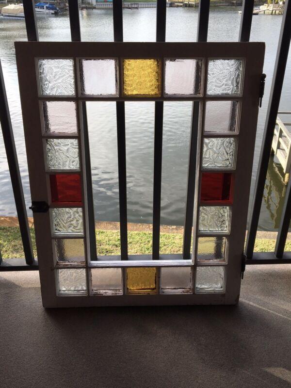 ANTIQUE QUEEN ANNE GLASS WINDOW, Unique Glass, Nice Original Decorative Hardware