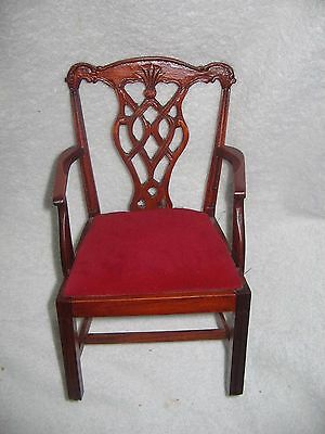 """VICTORIAN WOOD & VELVET CHIPPENDALE  ARM  CHAIR  FITS 16""""  DOLL"""