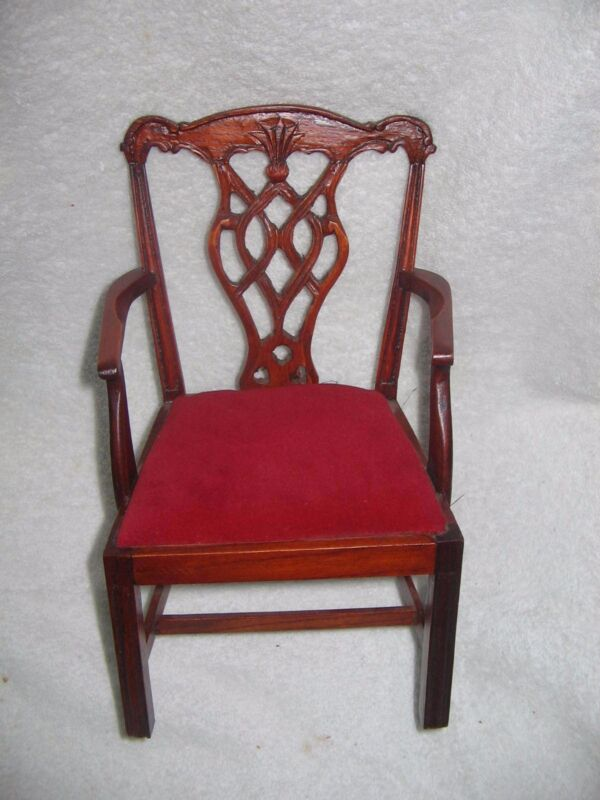 "VICTORIAN WOOD & VELVET CHIPPENDALE  ARM  CHAIR  FITS 16""  DOLL KESTNER BRU BEBE"