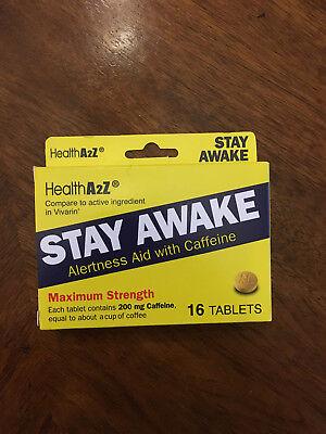 Stay Awake caffeine Alertness aid compare 16 tablets 200 mg each tablet made -