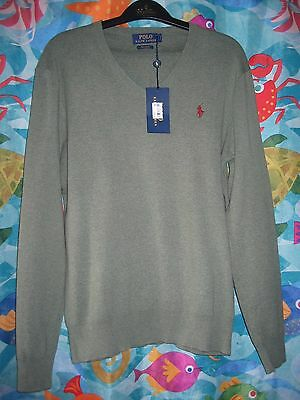 NWT Mens Polo Ralph Lauren Olive Green Pima Cotton V-Neck Long Sleeve Sweater S