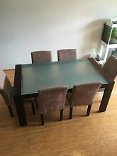 6 seater dining table and faux suede chairs Turrella Rockdale Area Preview