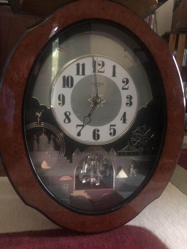 Dark Wood Small World Rhythm Musical Melodies Motion Wall Clock - 4MH752