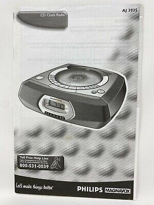 Philips Magnavox AJ 3935 CD Alarm Clock Radio User Manual Instruction Guide
