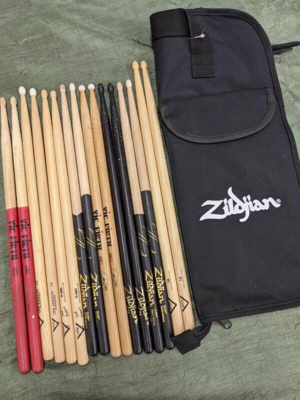 Zildjian stick bag with used vater zildjian coated drum sticks nice