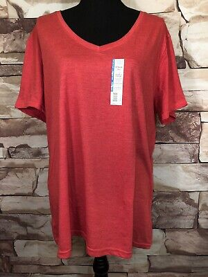 NEW Time And Tru Womens T-Shirt Red Cap Sleeve Plus Size 3XL Casual