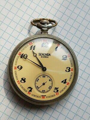 Vintage pocket Watch MOLNIJA SEKONDA TRAIN SOVIET/USSR, RUSSIA