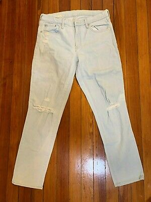 Gap 1969 Authentic Best Girlfriend Jeans White Water Destroy Ripped Look Size