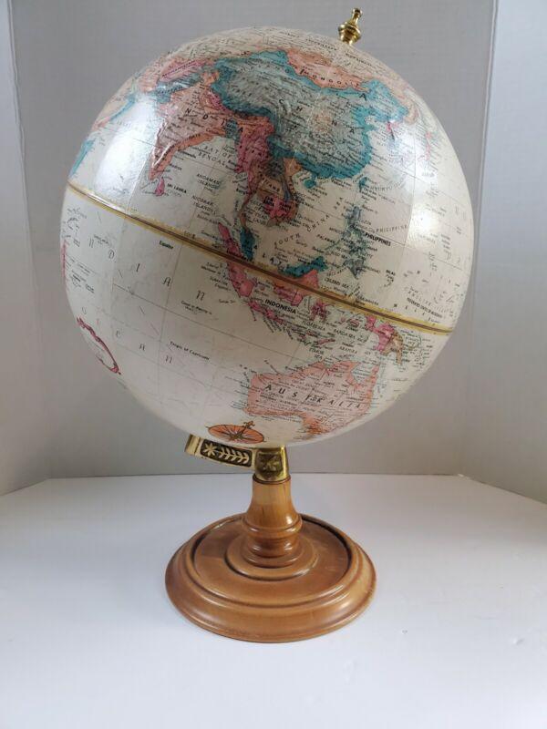 "Vintage 12"" Replogle Globe Raised Relief World Classic Series Wood Base"