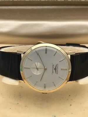 Vintage Longines 10k Gold Filled Yellow Gold Automatic Leather Band Watch