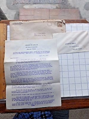 1935 Six Pg Oil Well Investment Letter  Make Your Fortune  Jack Vale  Dallas  Tx