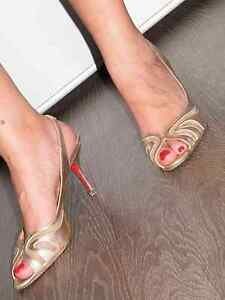Original-CHRISTIAN-LOUBOUTIN-8cm-Echtleder-Stiletto-High-Heels-Gold-Gr-41