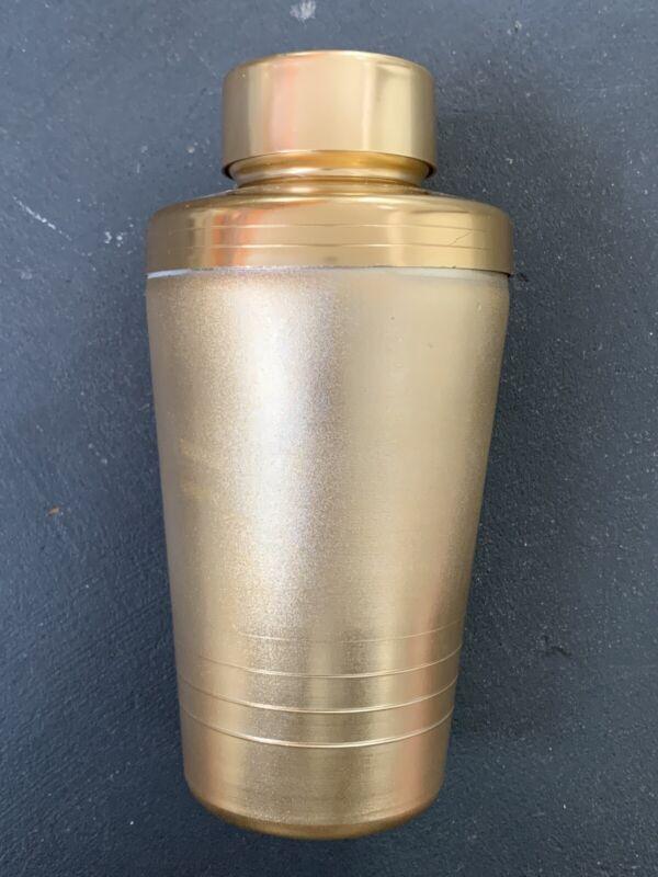 Vintage Mirro MCM Anodized Gold Copper-Tone Aluminum Cocktail Shaker & Strainer