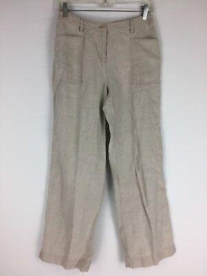 J Jill Womens Sz 4P Light Taupe Gray 100% Linen Casual Dress Pants B56