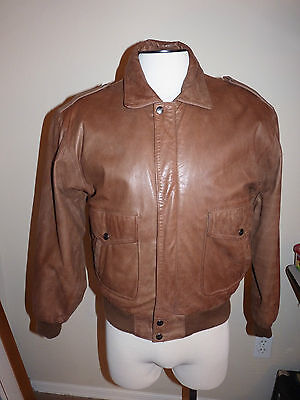 Adler B52 Bomber Men S Brown Leather Jacket Zip Out Fleece Liner, used for sale  Shipping to Canada