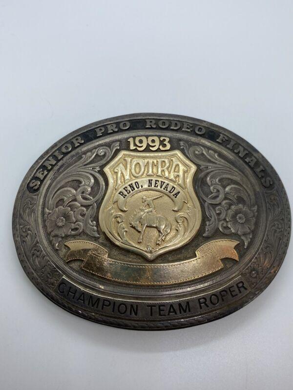 1993 NOTRA Senior Pro Rodeo Finals Champion Team Roper Gist Sterling Belt Buckle