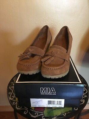 Mia Light Brown Suede Wedge Loafer - Size 8 Mia Suede Wedges