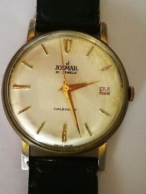 Vintage Old Josmar 21 Jewels Wrist Watch - Working