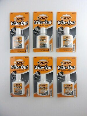 Bic Wite-out 6 Total Quick Dry Correction Fluid White 20ml Bottles Sealed New