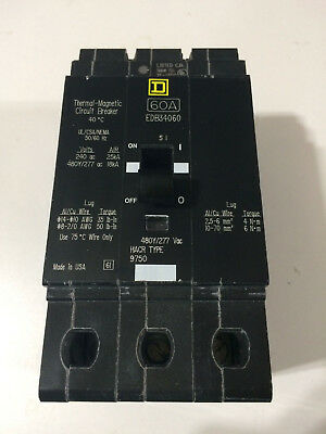 Square D Edb34060 3 Pole 60 Amp Circuit Breaker New No Box