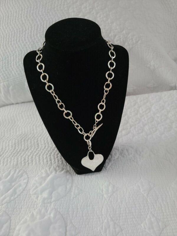 Robert Lee Morris RLM Studio Sterling Silver 925 Toggle Necklace Heart Pendant