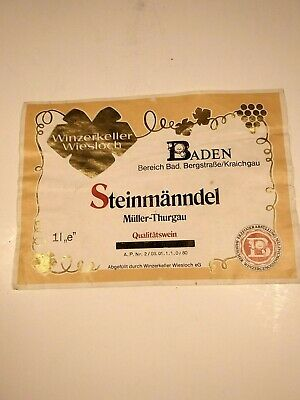 VINTAGE WINE BOTTLE LABEL MADE IN GERMANY WINZERKELLER WIESLOCH