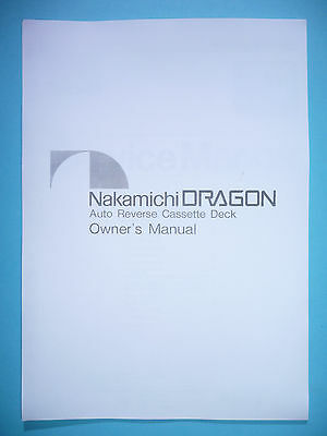 Owner 'S Manual User Manual for Nakamichi Dragon for sale  Shipping to United States
