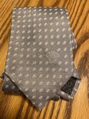 Versace Medusa Pattern Silver Color 100% Silk Necktie Tie Made In Italy