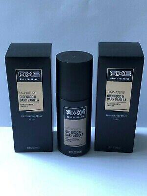 AXE Men's Signature Oud Wood & Dark Vanilla 2 x 3.38oz Daily Fragrance Spray NIB