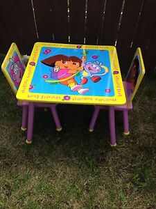Kids Wooden Table with 2 Chairs
