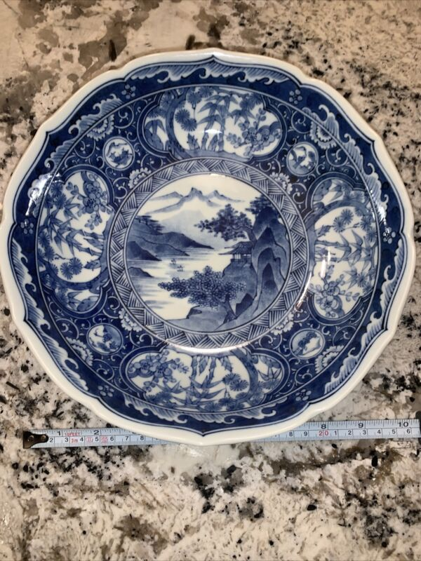 "Beautiful 10"" Japanese Blue And White Porcelain Bowl"