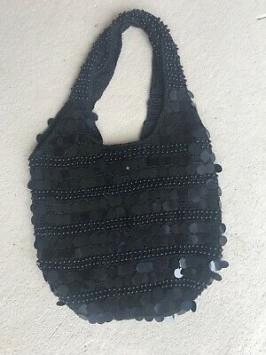 New Large Black Crochet Knit Sequin Beaded Hobo Bag Purse Handbag Beaded Hobo Purse Handbag