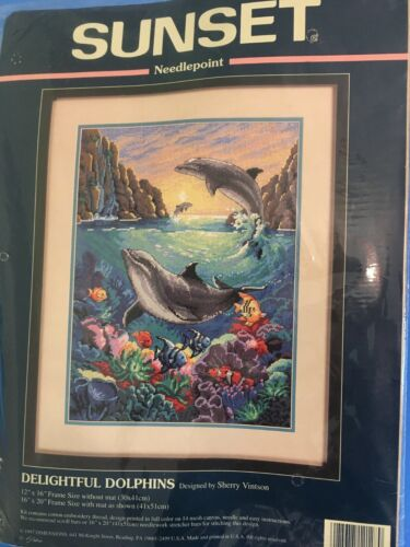 Sunset Delightful Dolphins Reef Needlepoint Kit 12x16 Unopened Sealed New Rare