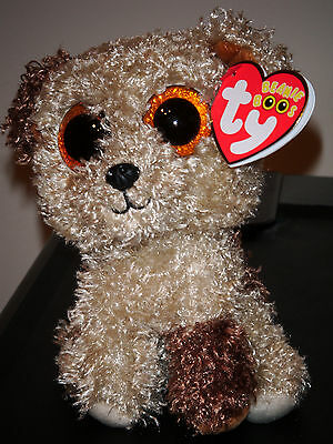 """Ty Beanie Boos ~ ROOTBEER the 6"""" Dog with Glitter Eyes ~ NEW MINT ~ RETIRED VHTF"""