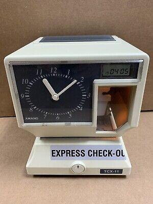 Amano Tcx-11 Employee Time Clock Analog Dial Digital Display No Key