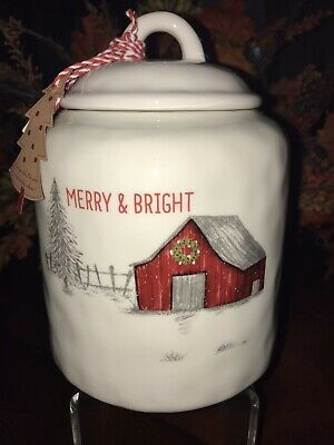 CHRISTMAS RED BARN COOKIE JAR CANISTER BY 10 STRAWBERRY STREET MERRY & BRIGHT
