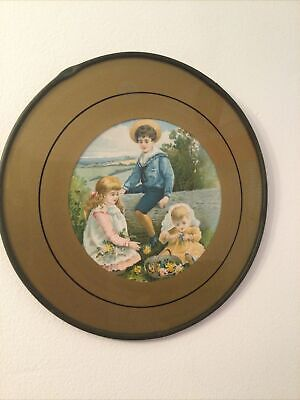 "Beautiful Antique Flue Cover Children with Flowers 9.5"" Diameter"