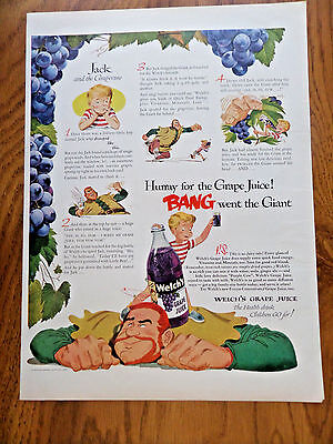 1951 Welch's Juice Ad Jack and the Giant Grapevine
