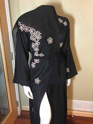 Fancy Khaleeji Abaya Arabic Button Up Half Open Jilbab Made in Dubai  L, XL