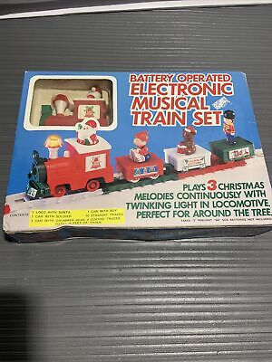 Vintage Battery Operated Electronic Musical Train Set Santa Christmas Toys