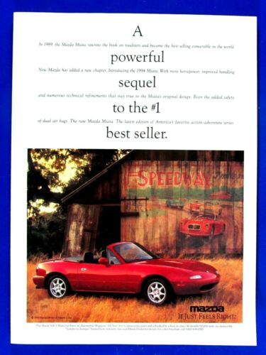 "1994 Mazda Miata MX 5 Convertible Powerful Sequel Original Print Ad 8.5 x 11"""