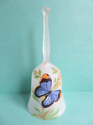 Viking Frosted Glass Bell hand painted Blue Butterfly and Yellow Flowers &Tag