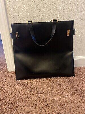 Auth GUCCI Leather Square Tote Bag Satchel Executive VTG BLACK *PEELING INSIDE