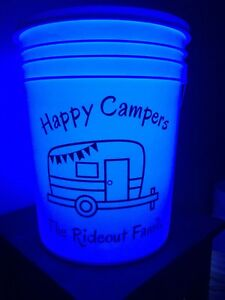 Personalized Camp / Firepit / Address Bucket with light