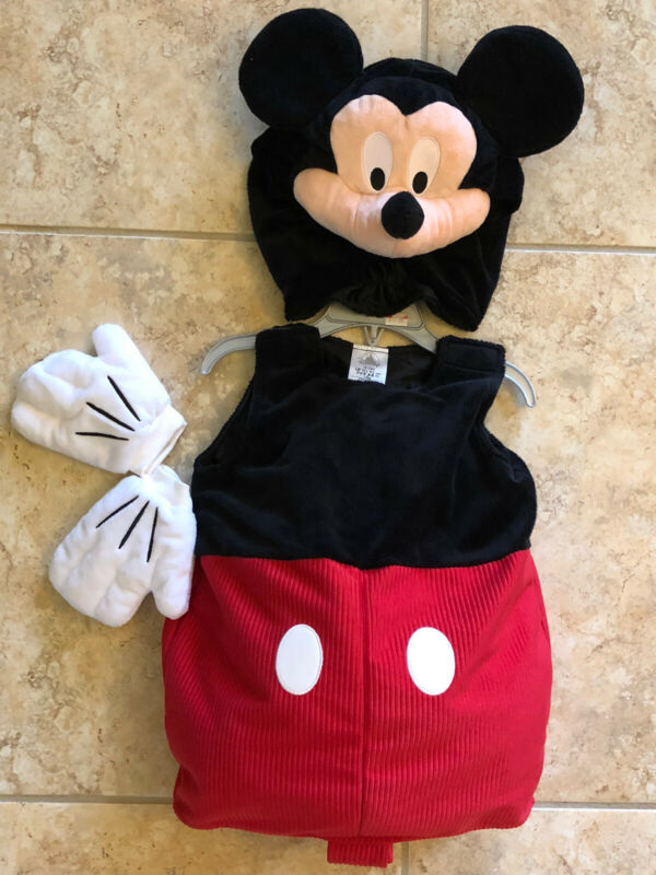 NWT Disney Mickey Mouse Halloween Costume 4pc Deluxe Plush sz 18-24 months