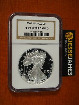 2005 W PROOF SILVER EAGLE NGC PF69 ULTRA CAMEO CLASSIC BROWN LABEL - $75.00