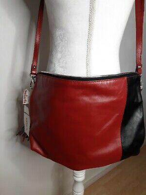 Nicoli Italian Handbag Purse Bag Shoulder Red Black Genuine Leather Zipper