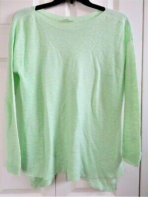 EILEEN FISHER Sweater Pullover Light Green Organic Linen Size M Medium