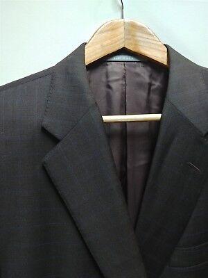 Hickey Freeman 44L Sport Coat Dark Brown with Blue Windowpane