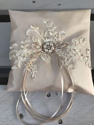 - Champagne Wedding Ring Cushion Bearer Pillow Sparkly Floral Lace Pearls Diamanté